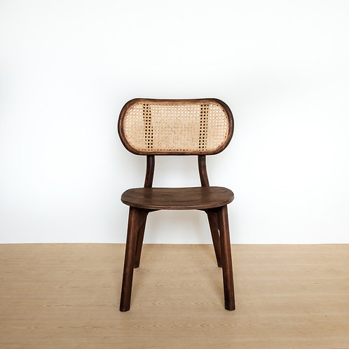 Dark Stained Teak Oval Rattan Backed Chair