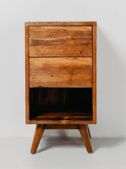 Pencil Leg Two Drawer Bed Side Table