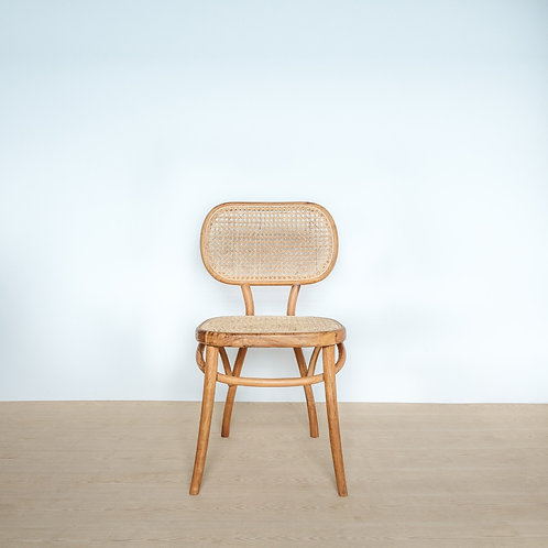 Natural Teak Framed Oval Rattan Backed Chair
