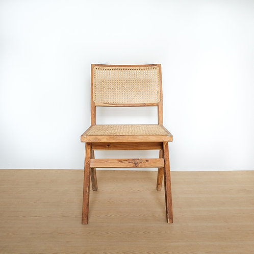 Straight Edged Modern Teak and Rattan Chair