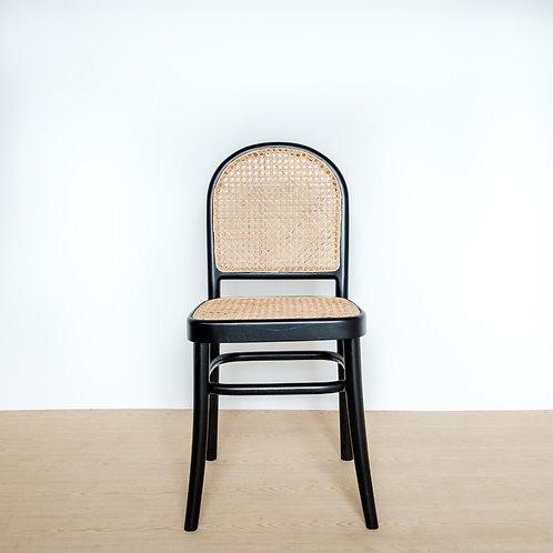 Round Back Black Teak Frame Rattan Chair