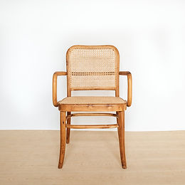 Classic Natural Bevelled High-Back Teak and Rattan Armchair