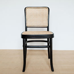 High-Backed Black Frame Teak and Rattan Chair