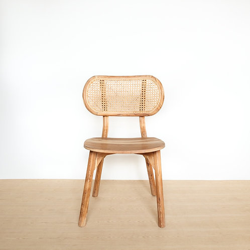 Natural Teak Oval Rattan Backed Chair