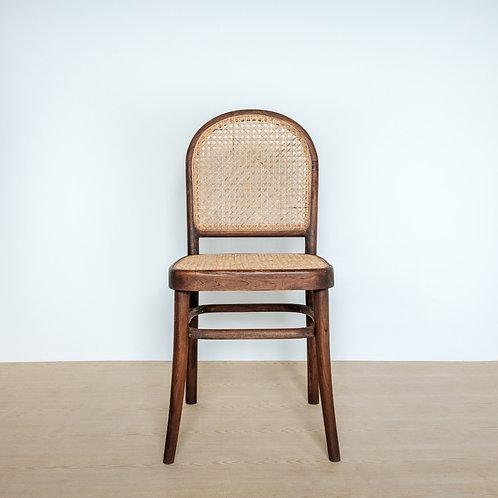 Round Back Dark Teak Frame Rattan Chair