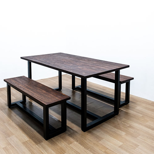 Rustic Twin Bench Dining Set