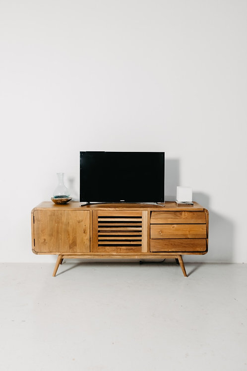 Natural Compact Bevelled Corner TV Console