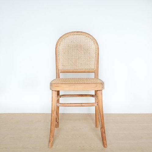Round Back Raw Teak Frame Rattan Chair