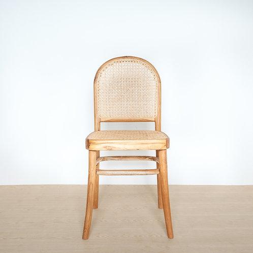 Round Back Natural Teak Frame Rattan Chair