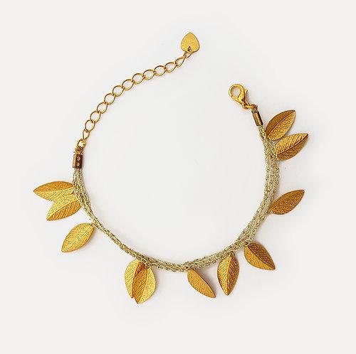 Silk Bracelets - Gold Leafs