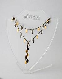 Open Silk Necklace - Gold & Bronze leaf (Dark thread)