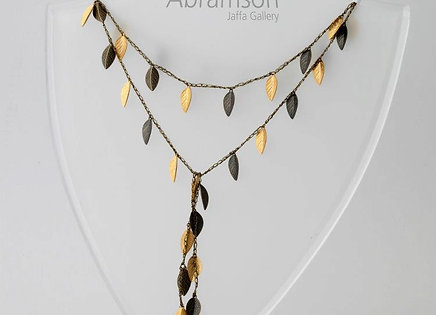 Open Silk Necklace - Gold & Bronze leaf (Dark thread)