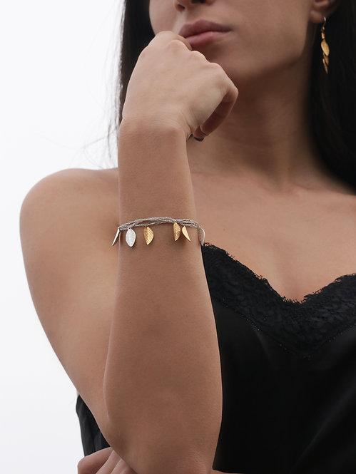 Silk Bracelets - Gold & Silver Leafs