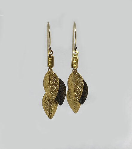 Short Earrings - Gold & Bronze leaf