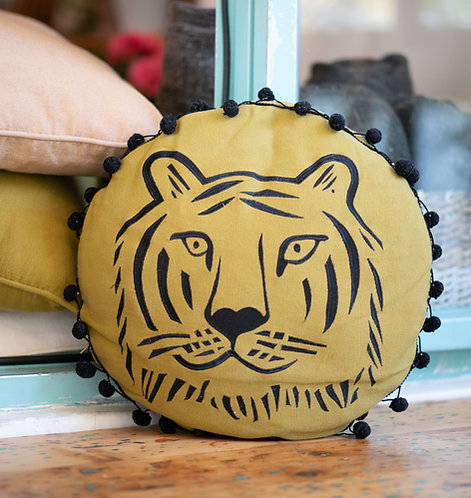 Round Tiger Cushion Cover