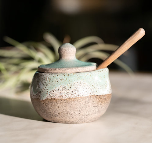 Sugar or Salt Container with wooden spoon