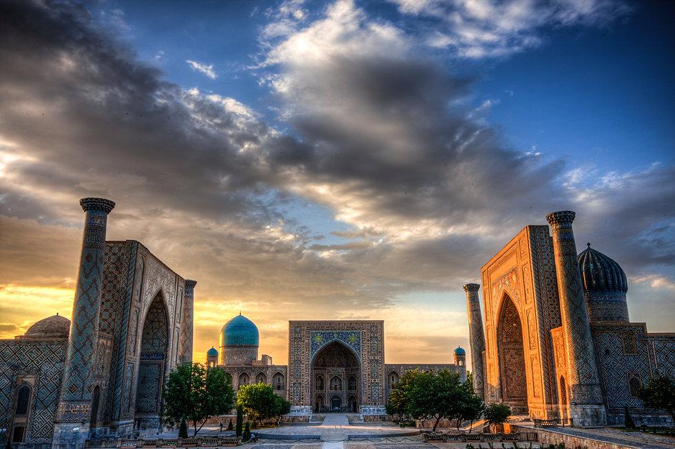 The Registran at sunset in Samarkand Uzb