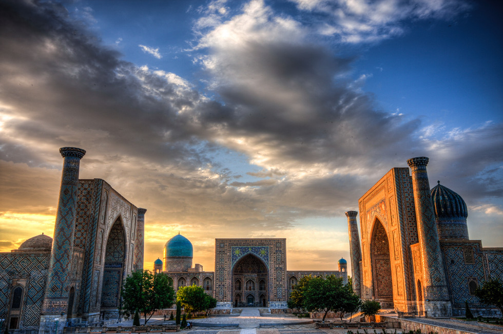 The Registran at sunset in Samarkand Uzb