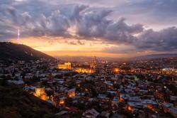 Tbilisi sunset panoramic view. Georgia Tour 10 nights 11 days.