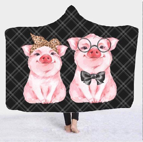 Pig Hooded Blanket