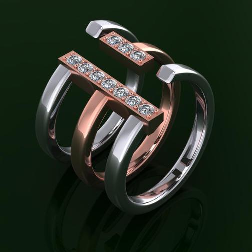 Modern Diamond Stack Ring