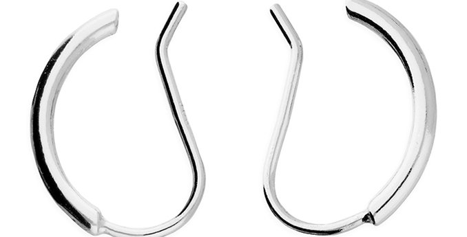 Sterling Silver Earring  2-way curved bar hook-in can be worn up the ear or stra
