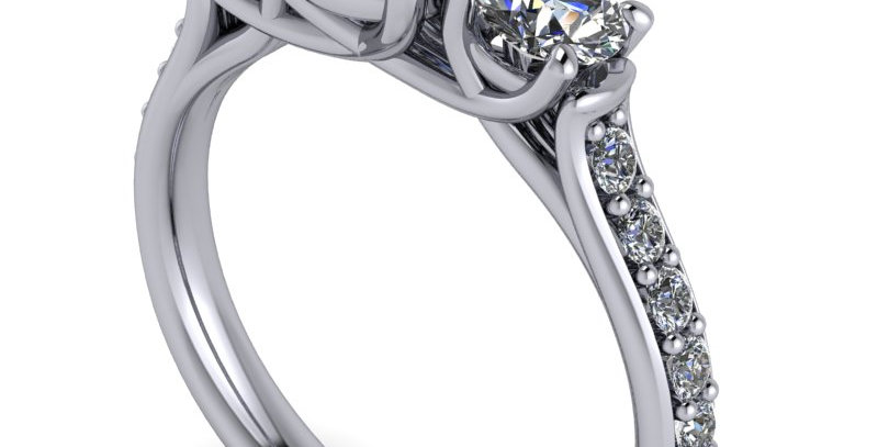 An traditional trilogy ring design for a 1.00ct Round Brilliant cut diamond.