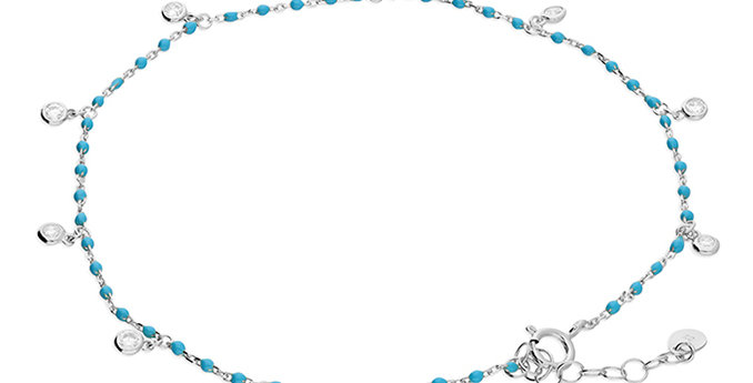Silver & Turquoise enamel bead chain cubic zirconia rub-over charm anklet.