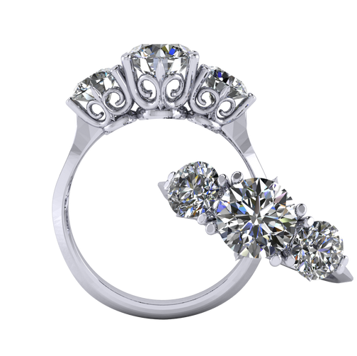 Antique Style Three Stone Ring