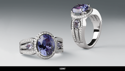 HALO-STYLE ACCENTED ENGAGEMENT RING