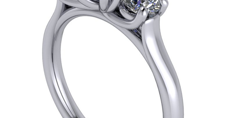 A traditional three stone trilogyring design for a 0.80ct Round Brilliant cut.