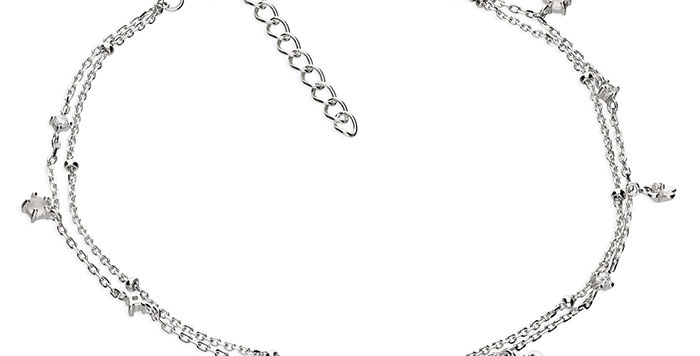 Silver anklet, double chain with cubic zirconia flowers.