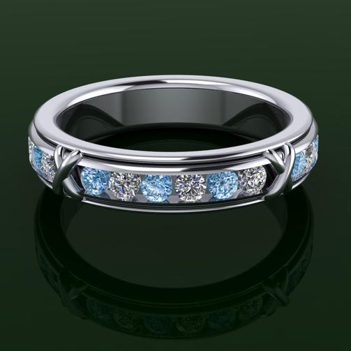 Blue & White Diamond eternity ring.