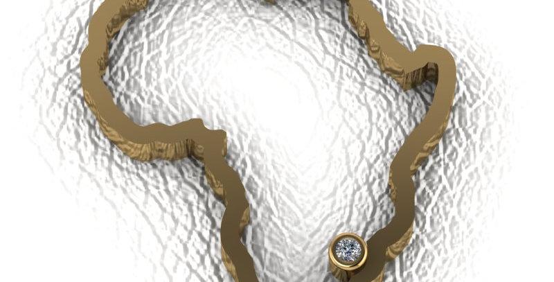 18ct Yellow Gold & Diamond African Map Pendant.