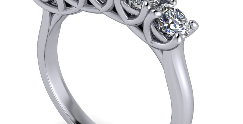 Five stone anniversary ring, set with five round brilliant cuts 1.00ct