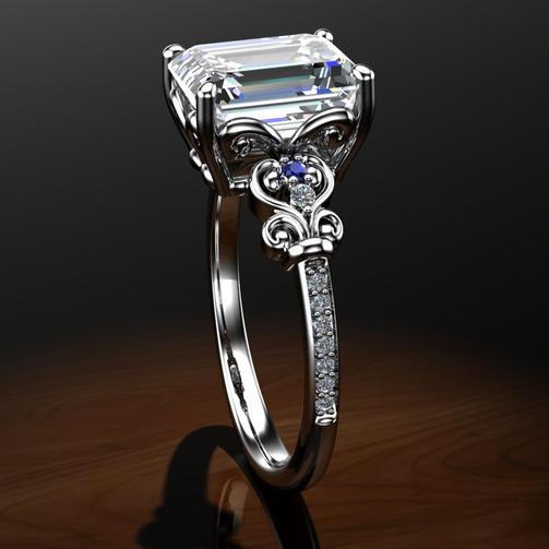 Large Moissanite Engagement Ring