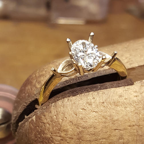 Oval Diamond Trilogy 18ct yellow and white