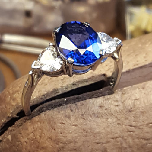 Oval Sapphire and diamond Trilogy