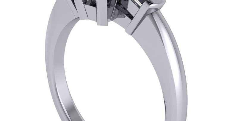 A three stone engagement ring design for a 1.25ct Emerald cut diamond.