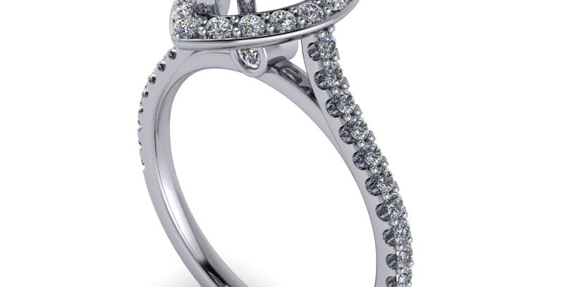 An engagement ring design for a 1.00ct Pear shaped  diamond with diamond detail.