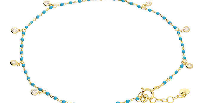 Yellow gold-plated turquoise enamel bead chain cubic zirconia rub-over charms
