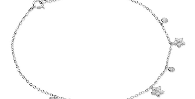 Silver cubic zirconia flower and cubic zirconia rub-over on chain.