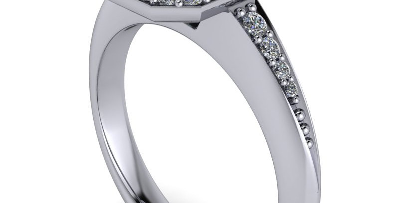 Diamond halo design ring for a 1.00ct Emerald cut diamond finger size M ( 7 )