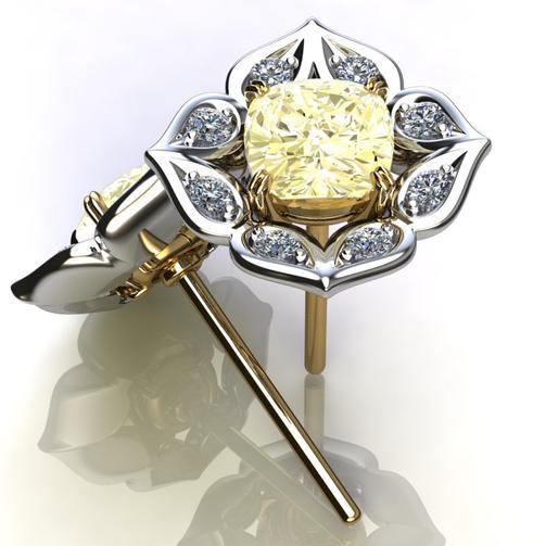 Yellow Sapphire & Diamond Earrings