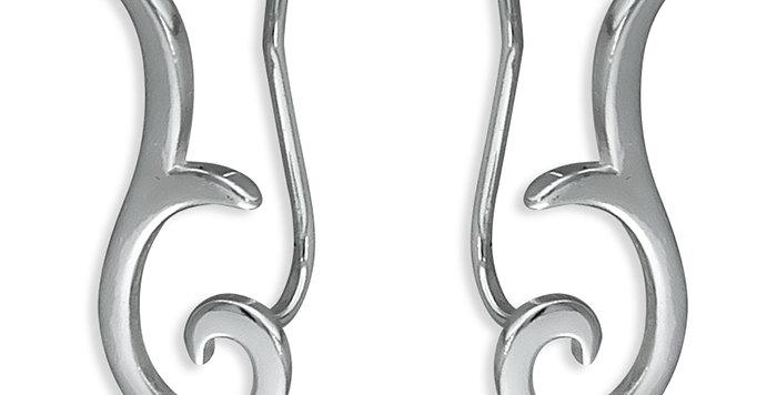 Sterling Silver Earring  Swirl up-the-ear