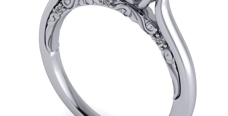 An antique style three stone trilogy ring design for threeRound Brilliant cuts.
