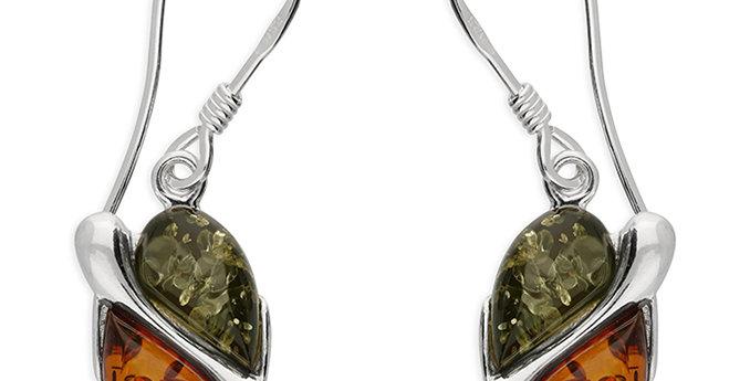 Sterling Silver Earring  Mixed amber, split oval hook-in drop.