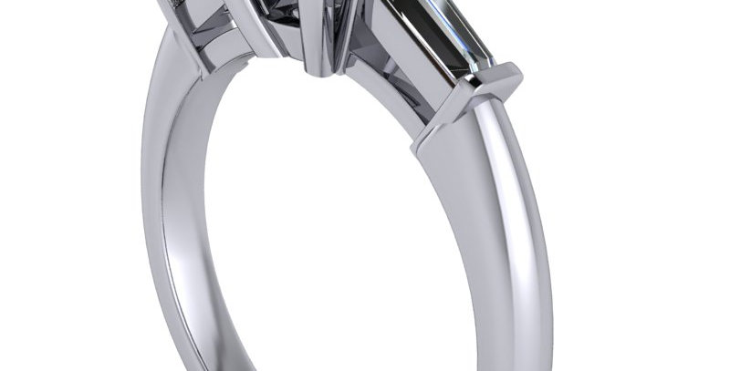 A three stone trilogyring design for a 1.00ct Round Brilliant cut diamond.