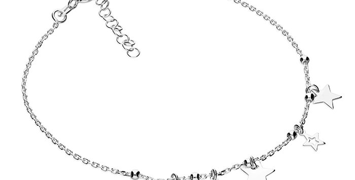Silver diamond-cut anchor chain with 5 alternating stars and beads.