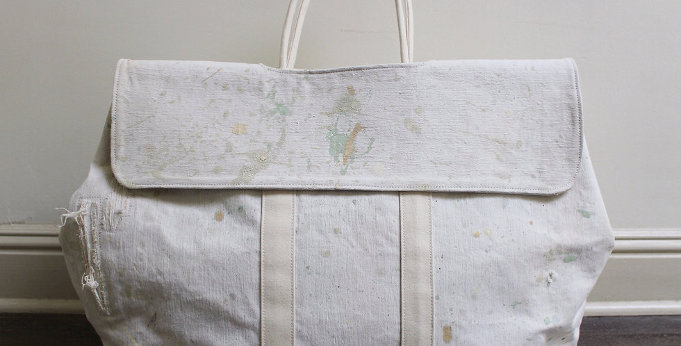 vintage pastel painted market bag